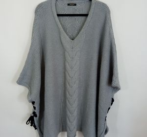 JANETTE lace Up Sides Poncho Sweater
